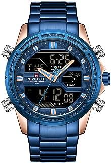 NAVIFORCE Men Sports Quartz LED Digital Male Full Steel Military Wrist Watch