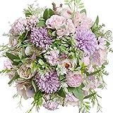 Nubry - Bouquet di fiori artificiali di peonia, di ortensia, in seta, con fiori finti di crisantemo, con steli per decorazione da tavolo (viola chiaro)