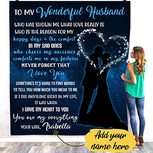VTH Global Personalized Custom to My Husband Quilt Blankets Customized Christmas Birthday Wedding Anniversary Engagement Custom Fiancee Gifts from Electrical Journeyman Lineman Husband Fiance
