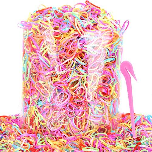 4000pcs Color Elastics Hair Bands, Teenitor Candy Colors Rubber Ties...