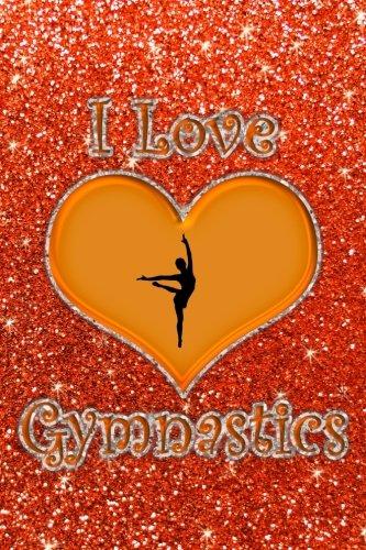 I Love Gymnastics: Faux neon orange glitter orange heart I love gymnastics journal