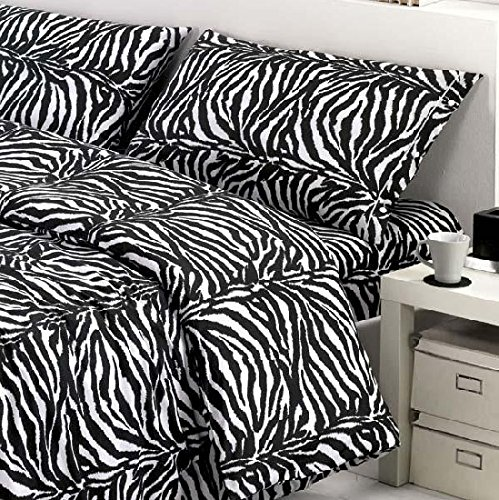 Smartsupershop Housse de couette avec taies d'oreiller pour lit double, motif fantaisie + T-shirt offert, blanc et noir zébré