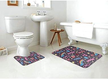 Juego de Alfombrilla de baño Suave de 2 Piezas con Fondo Adhesivo Antideslizante Pop Art Seamless Pattern Decoration Bath Alf