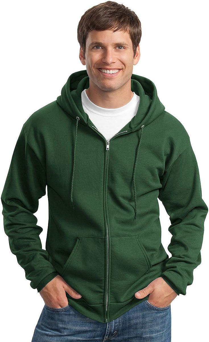Port & Company Men's Full-Zip Hooded Sweatshirt, Dark Green, Small