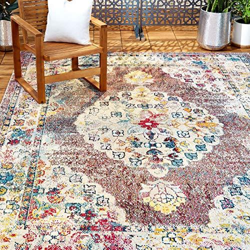 Home Dynamix Nicole Miller Patio Starlight Cedar Indoor/Outdoor Gray 7'9'x10'2' Modern Gray/Pink/Blue/Puple