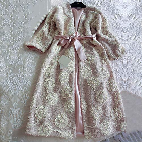 JYDQM Terciopelo de Seda Floral Bordado Femenino 2 Piezas Robas Conjuntos de Manga Larga Elegantes Camisones de Espesamiento de la Prendas de baño de baño (Size : Medium)
