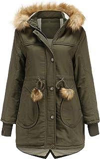 ReooLy, Sombrero Desmontable de Lana de Longitud Media de Invierno para Mujer, Chaqueta cálida, Abrigo de algodón