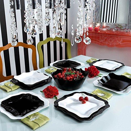 Luminarc Servizio Completo di Piatti Neri 19 Pezzi Set per 6 Persone Authentic Black Noir White Bianco Vetro Opale