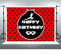 Polka Dot Backdrop for Miraculous Ladybug Themed Birthday Party Ladybird Happy Birthday Background 7x5ft Photo Booth Banner for Cake Table Supplies ZYVV0703