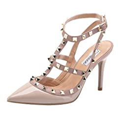 0e3c1c28a6f CAMSSOO Women s Classic Studded Strappy Pumps Rivets High Hee .
