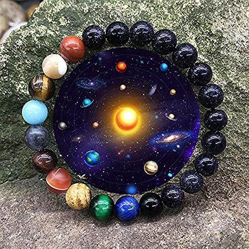 YZDKJ Pareja Pulsera Ocho Planetas Pulsera de Piedra Natural Una dirección Joyería de Moda Hombres Mujeres Galaxy Sistema Solar Barlas Pulseras