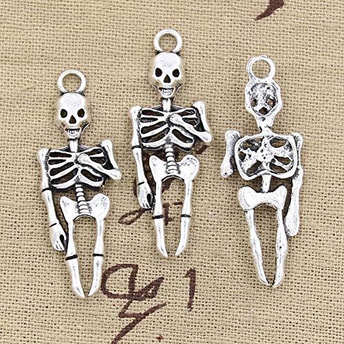 NING456 12 Uds Encantos Esqueleto Hombre Halloween 41X15Mm Colgantes De Color Plata Antigua Fabricación De Joyería De Color Plata Tibetana Hecha A Mano DIY