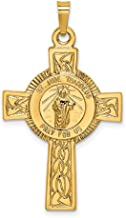14K Yellow Gold Cross With St. Jude Medal Pendant