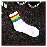 JSJJAYU Chaussette Chaussettes drôles drôles de la Cheville d'été Cool Harajuku Stripes colorées Mid drôles Chaussettes 1 Paire (Color : 1, Size : Size 38 45)