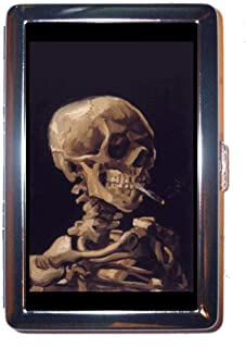 Vincent Van Gogh Skull with Burning Cigarette Stainless Steel ID or Cigarettes Case (King Size or 100mm)