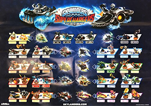 Skylanders Superchargers Dark Edition Double-Sided Figure and Vehicle Character Poster 28' x 20'