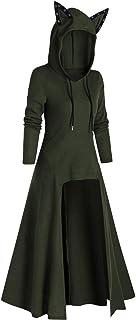 Xmiral Kat Oor Hoodie voor Vrouwen Hooded Sweater Tops Lange Terug Hem Effen Kleur Leuke Trui Pullover