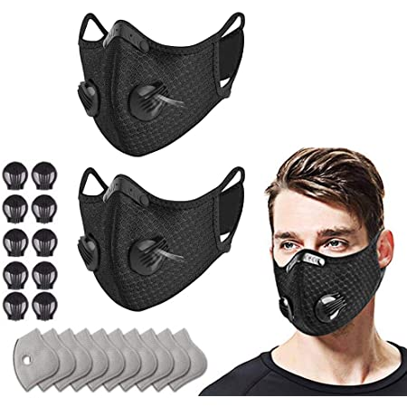 4PC + 12Filters black Unisex Reusable cloth cover with Activated Carbon Insert Washable Cotton С/Οver for Running Cycling Outdoor Activities