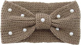 FRCOLOR Knit Woolen Headband Pearl Decor Headdress Bowknot Head Cover Winter Headwraps for Khaki
