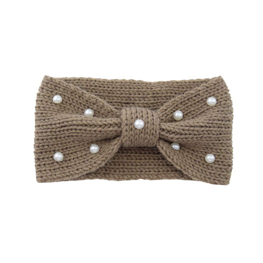 LEORX Bow Headband Pearl Ear Warmer Headband Winter Wool Knitted Head Wrap for Women Girls, Khaki