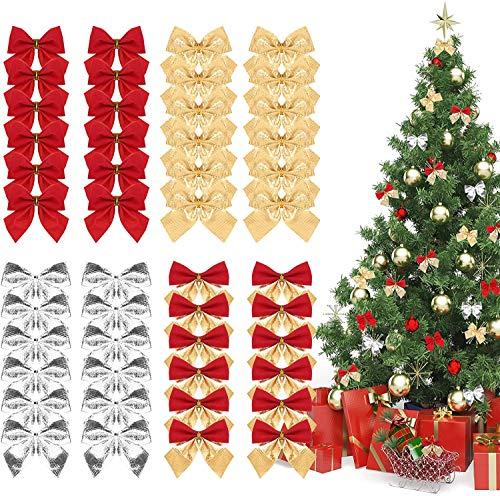 Naler 48 Adornos de Lazos de Cinta de Navidad Decoración de Lazo Colgante de Árbol de Navidad y Regalos (5,5cm, 4 Estilos, Rojos/Dorados/Plateados)