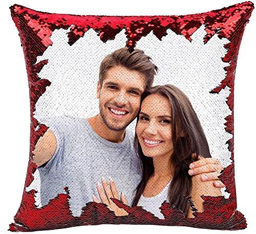 Cojín Personalizada con Foto 40 * 40cm Almohada Tejido Tacto algodón Regalo para Mujer Amiga Mama Vario Tamano Tejido Tacto algodón (con Relleno-Rojo)