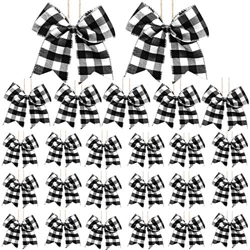 SHANGXING 25 PCS Christmas Plaid Bows-6.2 x 5.9 Inch Xmas Tree Buffalo Plaid Wreath Bows for Christmas Tree Crafts Party Indoor Outdoor Decoration (Black&White)