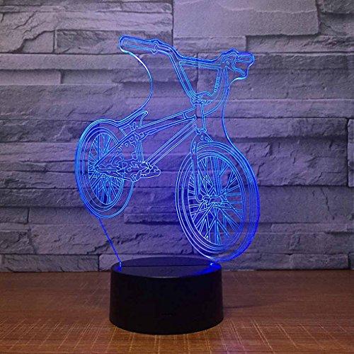 ZNND Kleurrijk nachtlampje, USB opladen creativiteit mode LED 3D illusie-effect modebewuste mountainbike tafellamp, decoratie voor kinder/babykamer, verjaardag/vakantie geschenken voor kinderen