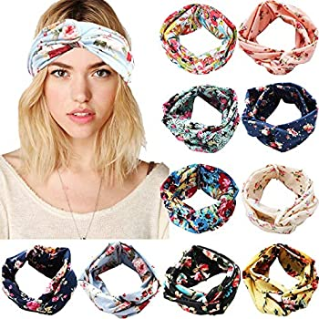 10 Pack Knotted Headbands for Women Floral Style Criss Cross Head Wrap Yoga Hair Band Boho Headbands Hair Accessories for Women Girls Lady