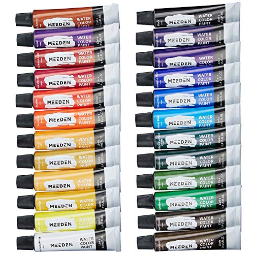 MEEDEN Watercolor Paint, Set of 24 Vibrant Colors in Tubes(24 x 12ml), Rich Pigments, Vibrant, Non Toxic for Students, Beginners, Hobby Painters and More