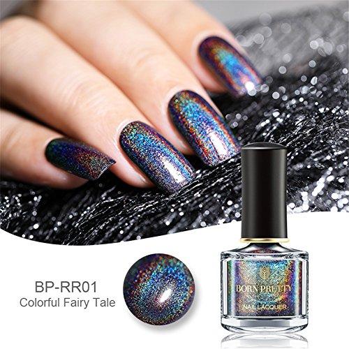 Born Pretty holographique Vernis à ongl 6ml avec Holo Paillette Brillante Nail Art H001 - Brillant dans Le Noir