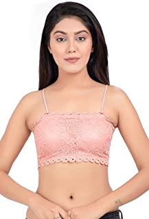 DIKKLATE Women's Lace Lightly Padded Non-Wired Bralette Bra