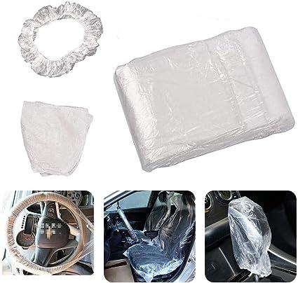 imperm/éable et antisalissure Housse de volant jetable universelle jetable en plastique transparent avec ceinture /élastique pour volant.