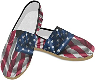 Fashion Sneakers Flats Retro American Flag Women's Classic Slip-on Canvas Shoes Loafers