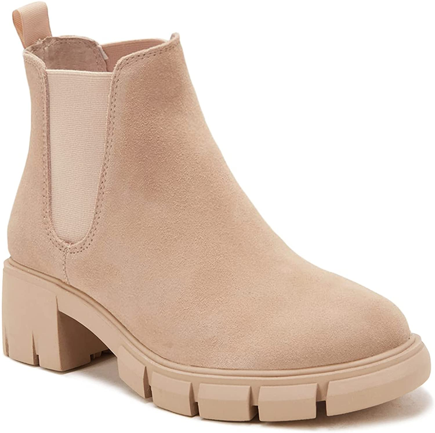 Womens Lug Sole Platform Ankle Booties Chelsea Slip on Chunky Block Heel Leather Combat Boots