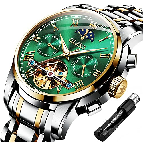OLEVS Mens Automatic Watches Skeleton Mechanical Self Winding Luxury Dress Wrist Watch Moon Phase Day Date Waterproof Luminous Two Tone Watches Gifts
