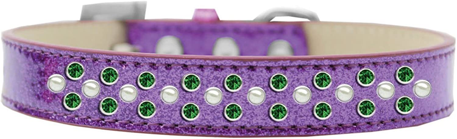 Mirage Pet Products Sprinkles Ice Cream Dog Collar with Pearl and Emerald Green Crystals, Size 20, Purple