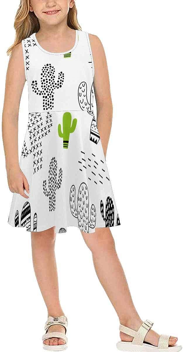 InterestPrint Girls Casual Sleeveless Dress Kids Printed Dress Geometric Abstract Camouflage (2T-XL)