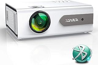 Proyector, YABER V3 Mini Bluetooth Proyector Portátil en Casa, 5800 Lumens Soporte HD 1080P, 60000 Horas Vida, Función de Zoom, Compatible con PS4,TV Stick,Altavoz/Auricular Bluetooth