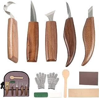 12 PCS Outils de Sculpture sur Bois avec Couteau à Crochet Couteau à Bois Couteau à Sculpter Couteau à Biseau Couteau à Cu...