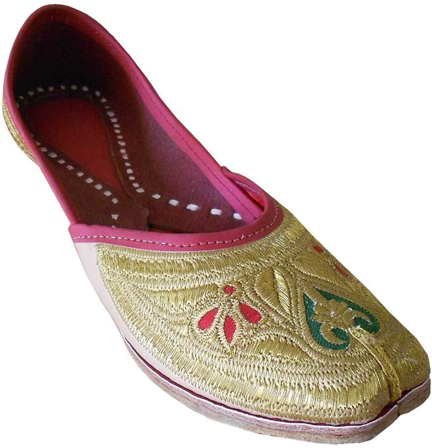Kalra Creations Women's Traditonal Indian Faux Leather with Embroidery Party shoes