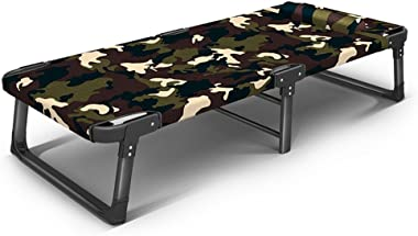 Folding Chairs ZR- Camo Reinforced Flat-Bed Folding BedOffice Lunch Break Recliner Adult NAP Bed Camp Bed Camping Bed (Color