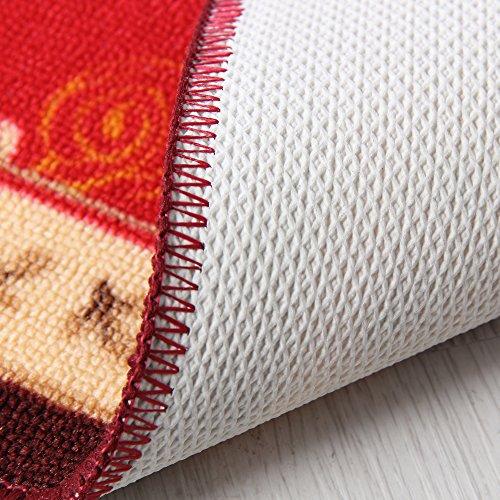 Carvapet Non-Slip Kitchen Mat Set Rubber Backing Doormat Runner Rug Set, Rose Design (Red 15