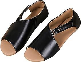 Women Flat Sandals Casual Summer Slip On Sandals Fish Mouth Slingback Peek Toe Flat Shoes Cork Sole Leather Flat Mayari Sandals Back to School