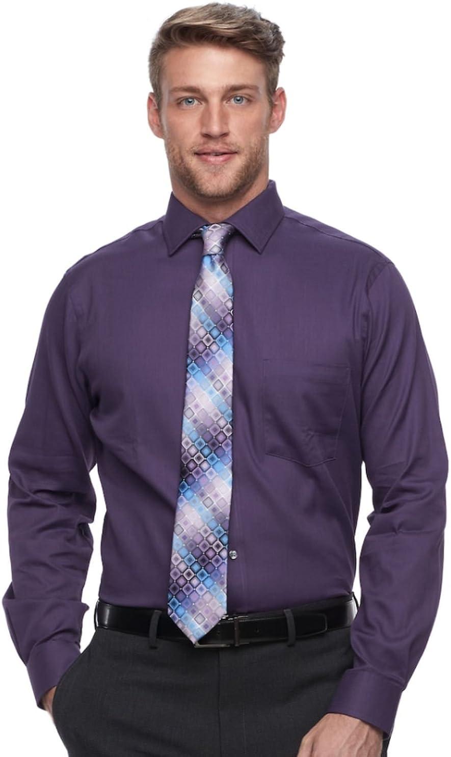 Van Heusen Men's Flex Collar Regualr-Fit Pin Cord Dress Shirt