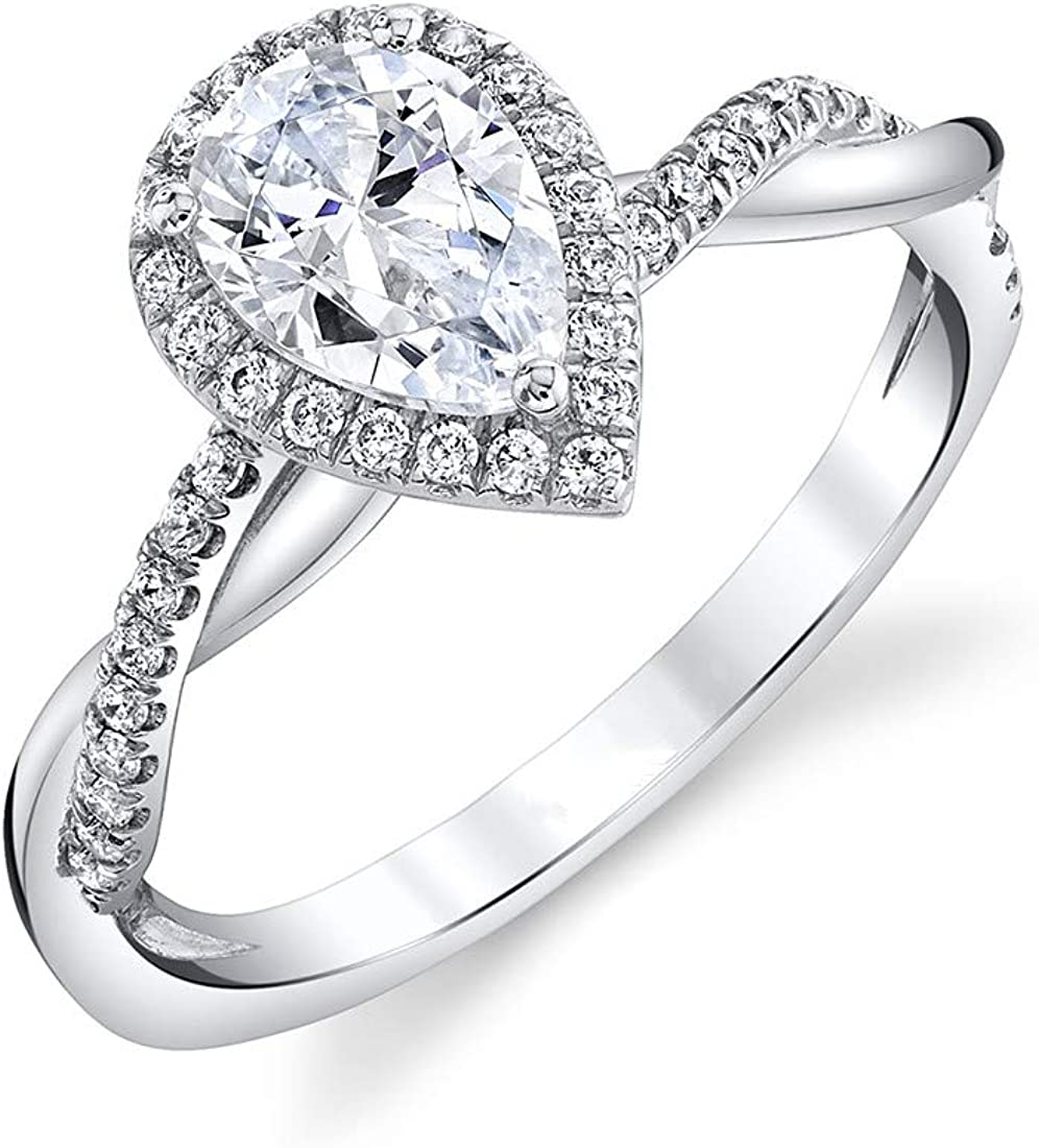 Blocaci Charlotte Mall 1 Carat Center Pear Shaped Mo Rings Engagement for Our shop most popular Women