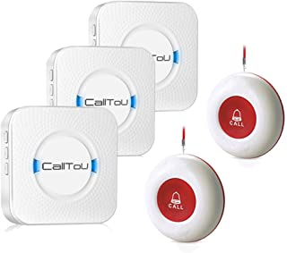 CallToU Wireless Caregiver Pager Smart Call System 2 SOS Call Buttons/Transmitters 3 Receivers Nurse Calling Alert Patient Help System for Home/Personal Attention Pager 500+Feet Plugin Receiver Alert