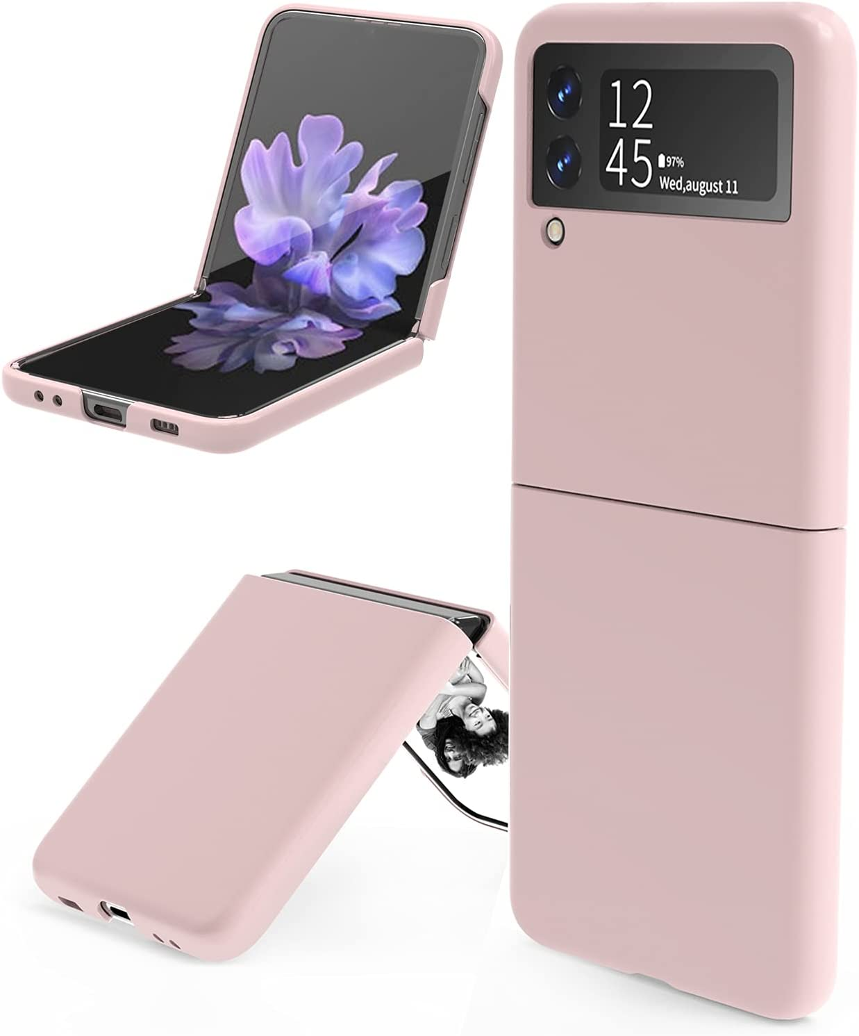 leChivée for Samsung Galaxy Z Flip 3 5G Case, Slim Durable Galaxy Z Flip 3 Phone Case Anti-Drop Wear-Resistant Hard PC Protective Cover for Samsung Z Flip 3 5G (Pink)