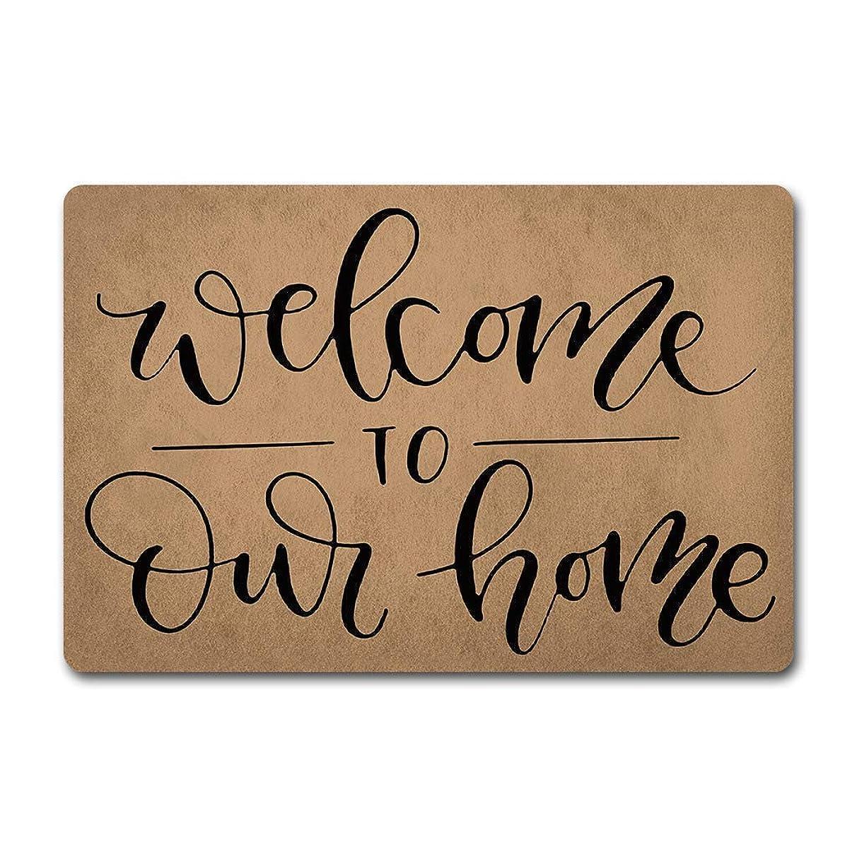 経済生じる行進IndoorDoorマットWelcome to Our Homeようこそドアマット面白いドアラグ(23.6 x 15.7インチ)不織布トップ滑り止めラバー裏ドアラグ入り口ウェイドアマット