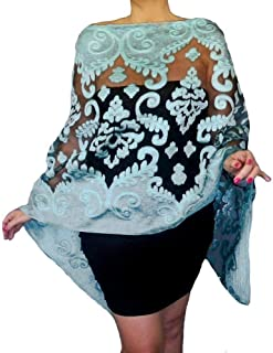 29594a9115e Plus Size Blue Wedding Shawl Organza Aqua Wrap Black Evening Wear By ZiiCi